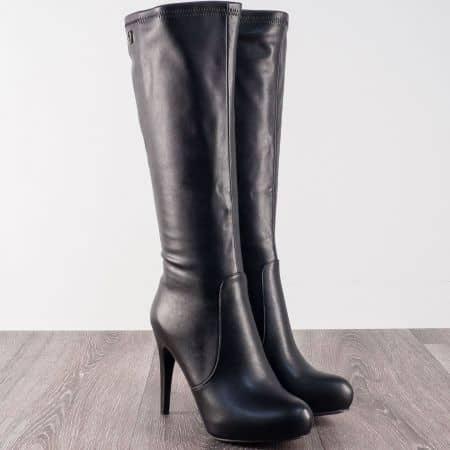 Черни дамски ботуши от стреч на висок комфортен ток 126750ch