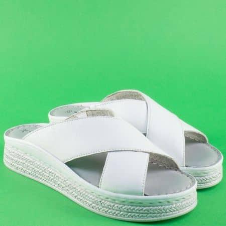 Шити дамски чехли от бяла естествена кожа на платформа 127207b