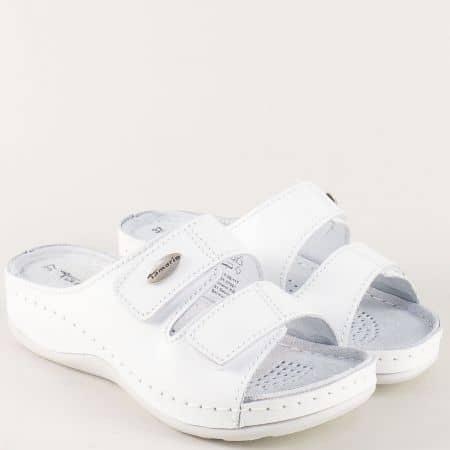 Бели дамски чехли на платформа с велурена стелка 127510b
