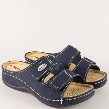 Комфортни дамски чехли Tamaris в синьо от естествена кожа 127510s