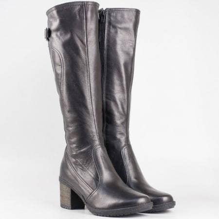 Дамски атрактивни ботуши изработени от висококачествена естествена кожа с топъл хастар в черен цвят 12754906ch