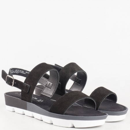 Практични дамски сандали на платформа от черен естествен велур на водещият немски производител TAMARIS 128153vch