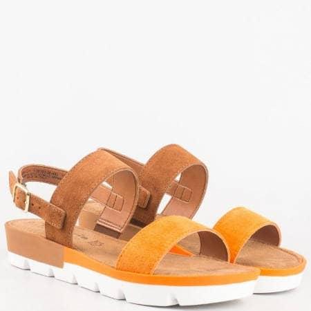 Немски модерни сандали на платформа от висококачествен естествен велур в оранж и кафяво 128153vk