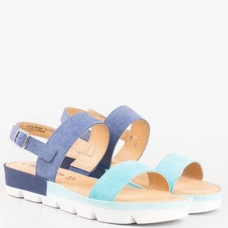 Дамски ежедневни сандали на платформа- Tamaris от естествен велур в син цвят  128153vs