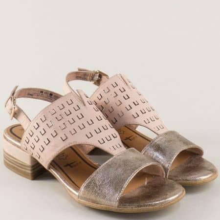Кожени дамски сандали на среден ток в бежово и сребро 128202bj