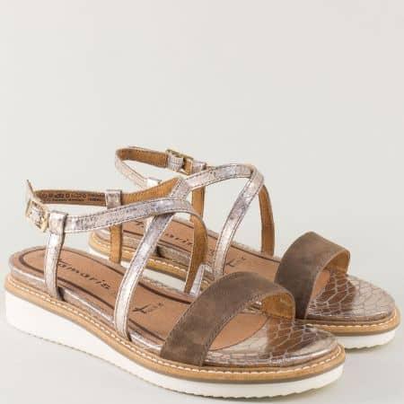 Дамски сандали на платформа в кафяво и сребро- Tamaris  128206k
