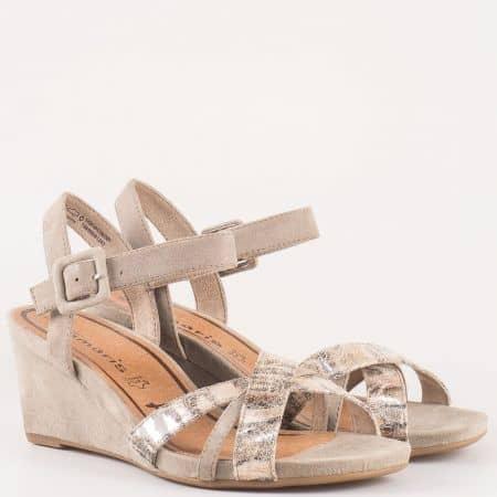 Дамски стилни сандали от висококачествена естествена кожа и текстил на немския производител Tamaris в бежово 128301vbj