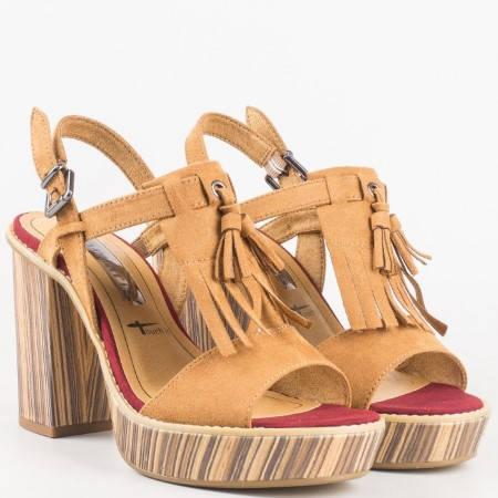 Оригинални немски сандали на висок ток с ресни и пискюл в кафяво  128331vk