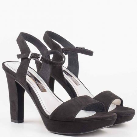 Дамски сандали на висок ток в черен цвят на водещият немски производител Tamaris  128337vch