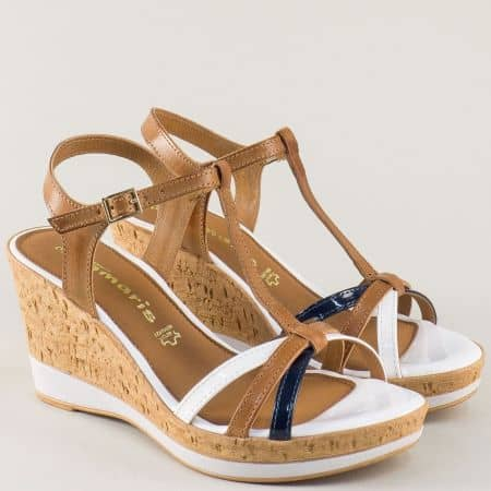 Дамски сандали на платформа в бяло, синьо и кафяво 128347ps