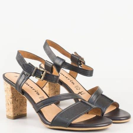 Дамски черни сандали на висок ток с вградена Anti- shock система от естествена кожа на немският производител Tamaris  128350ch