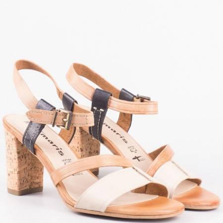 Елегантни дамски сандали от естествена кожа на висок ток с вградена Антишок система- Tamaris 128350k