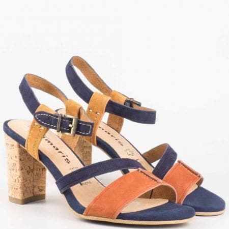Дамски сандали от естествен велур на висок ток от утвърден немски производител 128350vsk