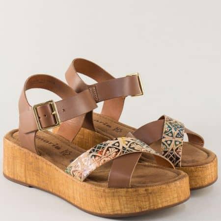 Тъмно кафяви дамски сандали на платформа- Tamaris  128352k