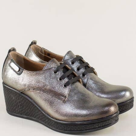 Бронзови дамски обувки на комфортно клин ходило от естествена кожа 130143brz
