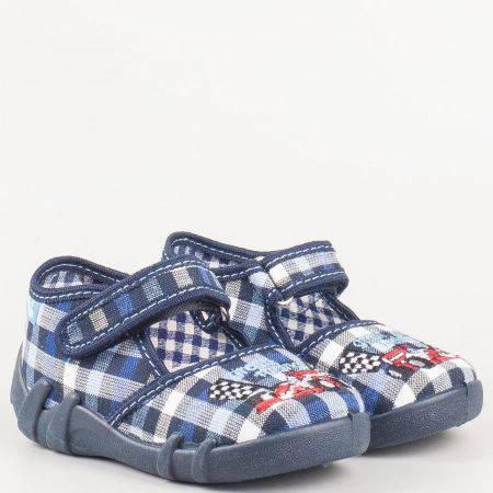 Детски текстилни обувки за момче в синьо каре с лепка на български производител с кожена мемори стелка 13105ks
