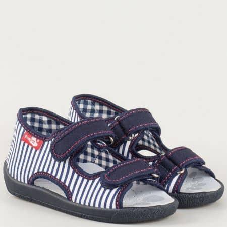Синьо- бели детски текстилни сандали с две лепки на комфортно ходило с кожена анатомична стелка- български производител 13112rs