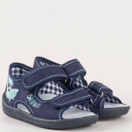 Детски анатомични пантофи, тип сандал в син цвят с лепки- български производител 13112ts