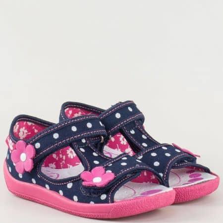 Детски български сандали с две лепки в синьо, розово и бяло с кожена, анатомична и антибактериална стелка 13140st