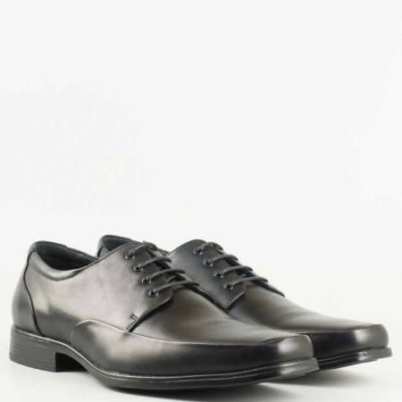 Мъжки елегантни обувки с естествена кожена стелка и връзки в черен цвят 135143ch