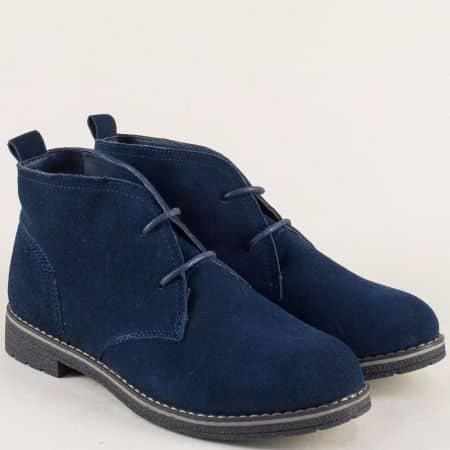 Велурени дамски боти в син цвят на нисък ток 132001vs