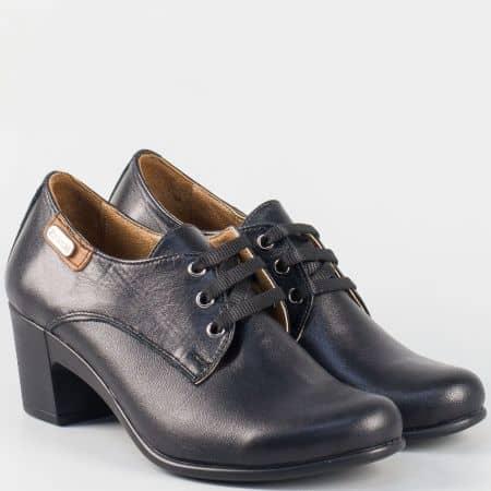 Дамски обувки на ток от естествена кожа в черно с връзки 133124ch