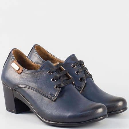 Кожени дамски обувки в син цвят с връзки и кожена стелка на среден ток  133124s