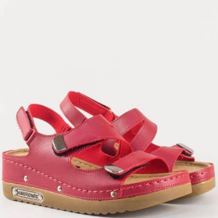 Дамски ежедневни сандали на комфортно анатомично ходило в червен цвят 13354chv
