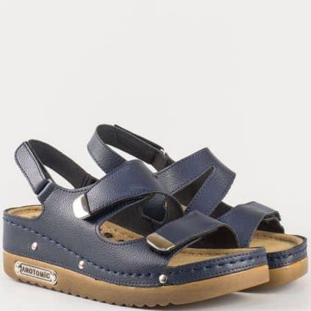 Дамски комфортни сандали с анатомично шито ходило с велкро ленти в тъмно син цвят 13354s