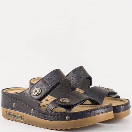 Евтини дамски чехли от еко кожа с анатомична стелка в черно 13357ch