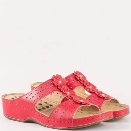 Червени дамски чехли на платформа с модерен дизайн 13365chv