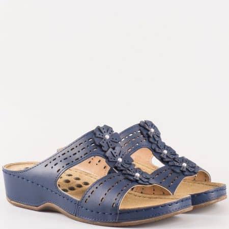 Удобни сини дамски чехли с мека стелка 13365s