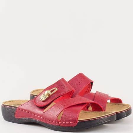 Червени ежедневни дамски чехли с велкро лепка 13380chv
