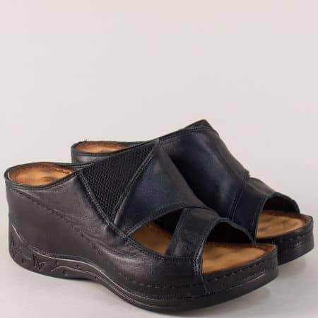 Черни дамски чехли с масажираща кожена стелка  134322ch