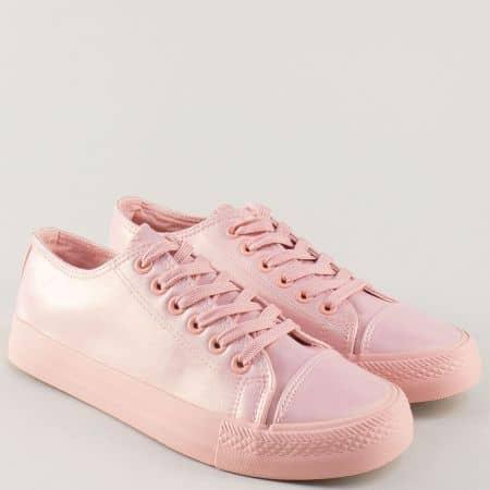 Дамски кецове с връзки в розов цвят с мек блясък 135046rz