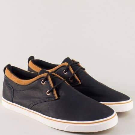 Спортни мъжки обувки на равно бяло ходило, решени в черен цвят 135053ch