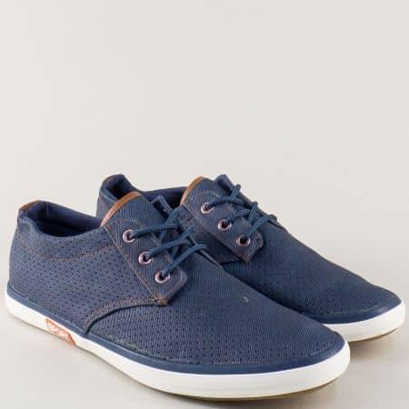 Спортни мъжки обувки в синьо с връзки  135056s