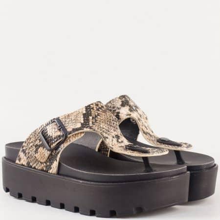 Черни дамски чехли с пъстър змйски принт 13536zbj