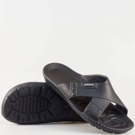 Черни мъжки джапанки от гумен материал 1366ch