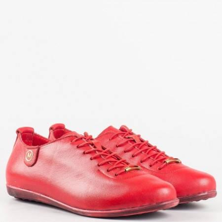 Дамски спортни обувки изработени изцяло от висококачествена естествена кожа в червен цвят 138chv