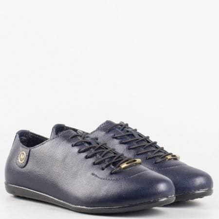 Дамски комфортни обувки със сая от висококачествена естествена кожа с ортопедична стелка в син цвят 138s