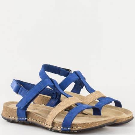 Дамски ежедневни сандали произведени от 100% естествени материали - велур и кожа на български производител в синьо и кафяво 140324vs
