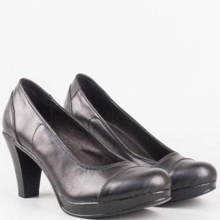 Дамски ежедневни обувки изработени изцяло от естествена кожа на български производител в черен цвят 1406843ch