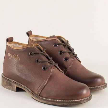 Кожени дамски обувки в кафяв цвят на нисък ток  140916k
