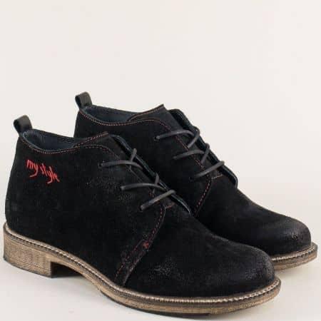 Велурени дамски боти на нисък ток в черен цвят 140916vch