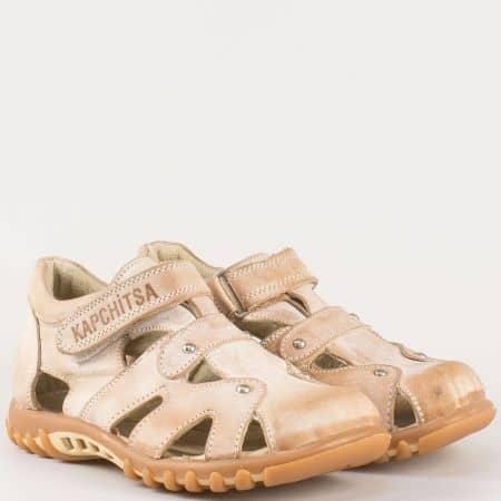 Детски летни обувки с отвори изработени от 100% естествена кожа на анатомично ходило в бежово 14118280bj