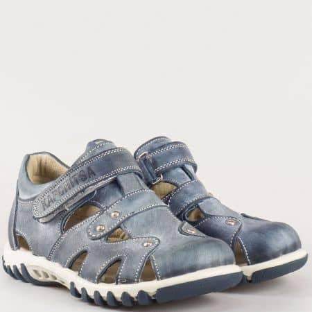 Детски комфортни обувки за лятото с отвори и велкро лента изработени от изцяло естествена кожа на български производител в син цвят 14118280s