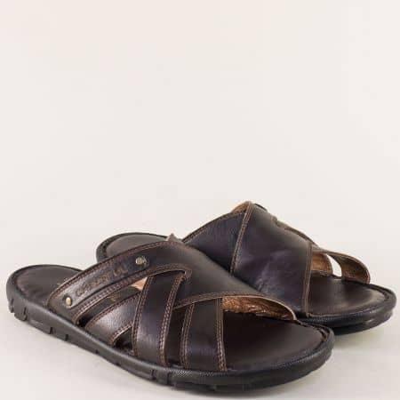 Тъмно кафяви мъжки чехли от естествена кожа 1420kk