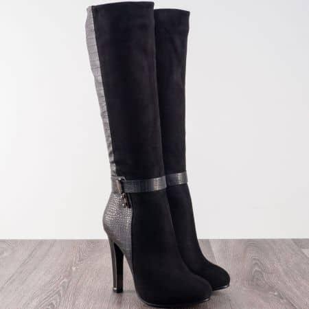 Дамски ботуши с елегантна визия на висок ток в черен цвят  142132ch