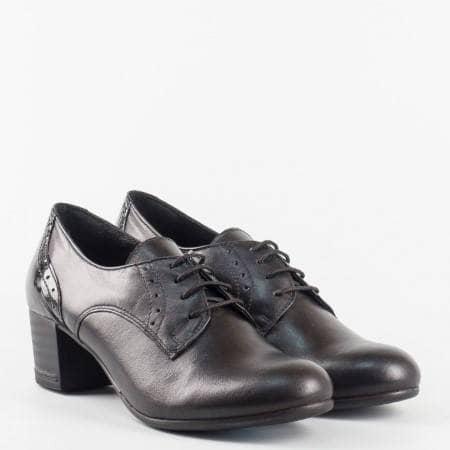 Удобни дамски обувки с връзки на нисък ток с модерна визия и ортопедична стелка 14277857ch
